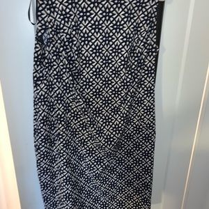 Navy patterned work dress